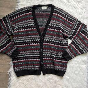 VTG 80s grandpa oversized cardigan sweater XL Tall